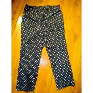 ANN TAYLOR Navy Cropped Polka Dot Pants